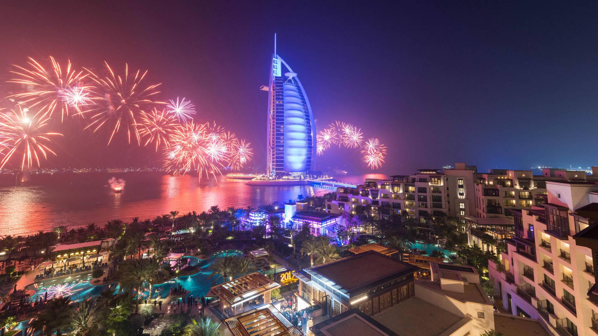 Burj Al Arab Fireworks New Year Eve