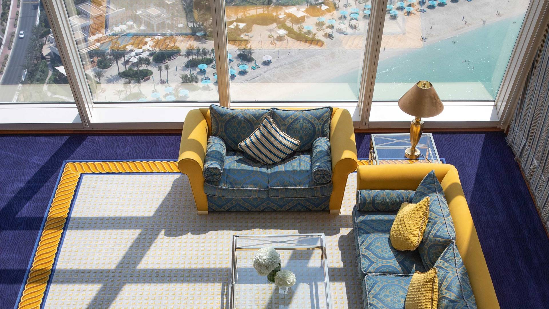 Jumeirah Burj Al Arab Club suite livingroom top view_16-9