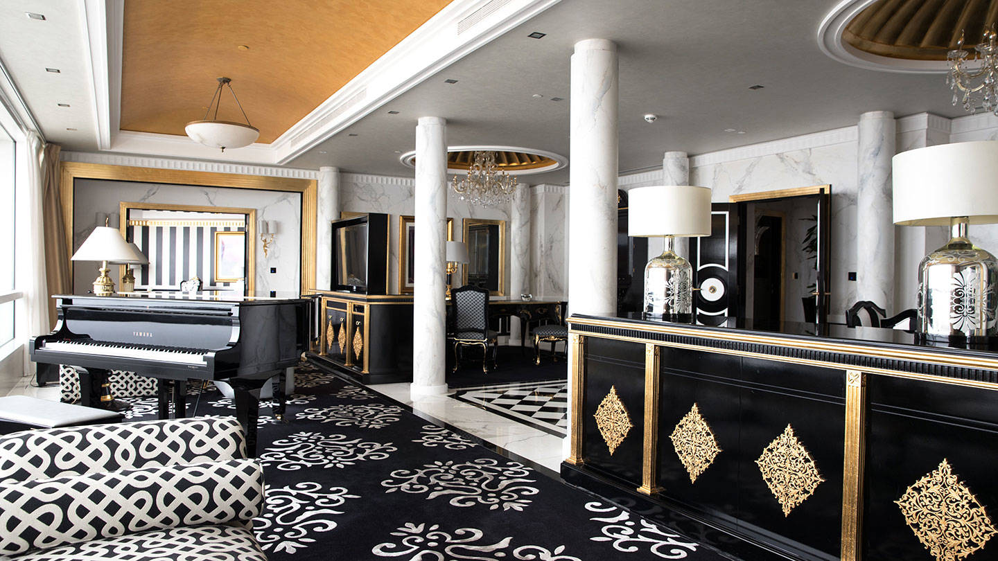 Jumeirah Emirates Towers Presidential Suite Versace Living Room