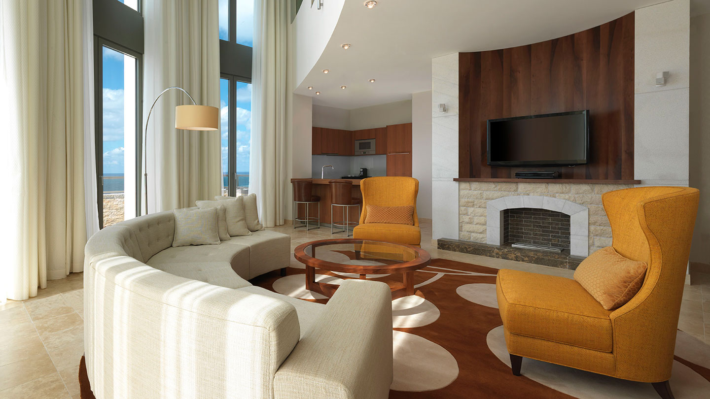Living area of the Lighthouse Suite at Jumeirah Port Soller Hotel & Spa