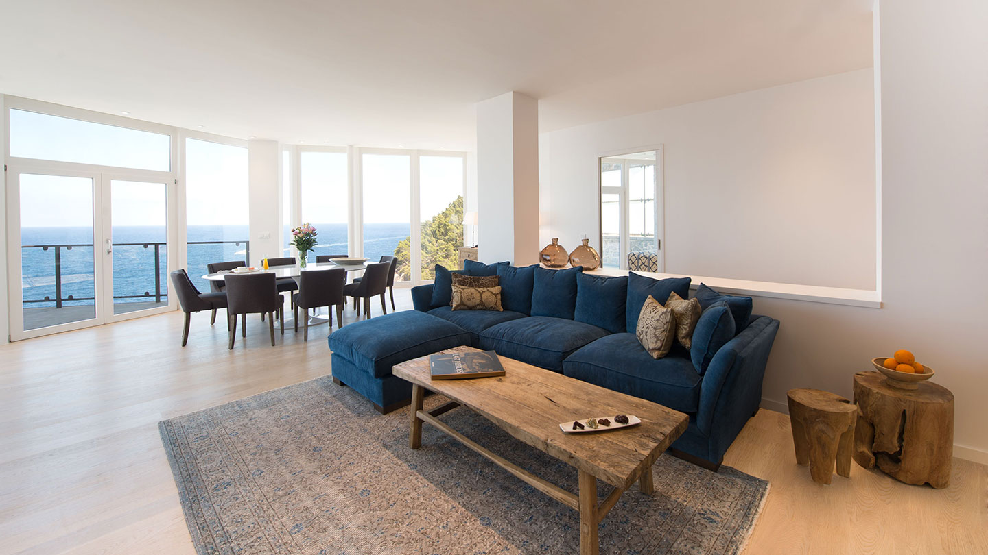 Living area with sea view of the Mar Blau Suite at Jumeirah Port Soller Hotel & Spa