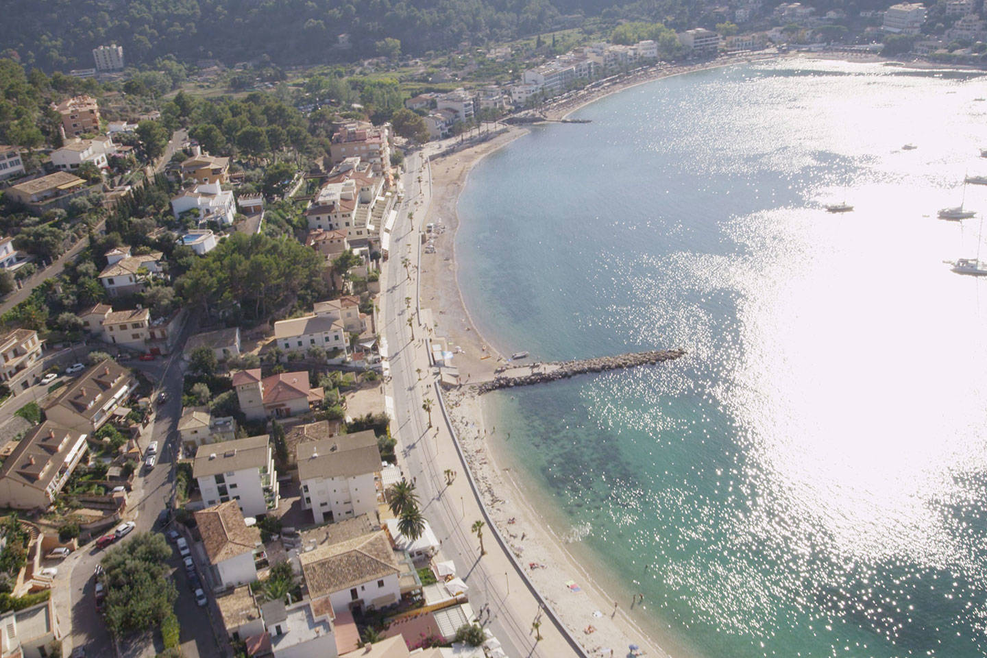 Aerial view of Port Soller on sunny day