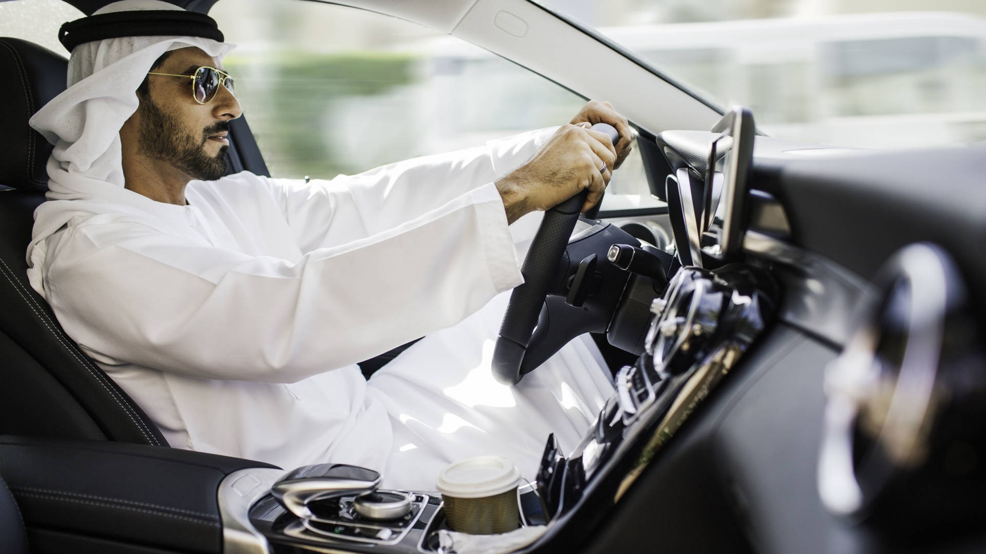 Driving through Abu Dhabi in a supercar
