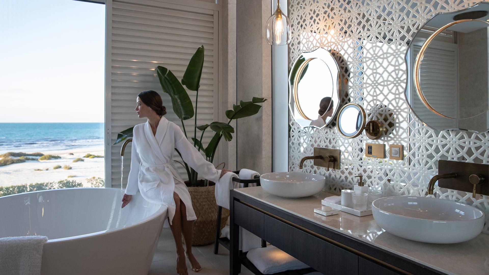 Bathroom view from villa at Jumeirah at Saadiyat Island Resort