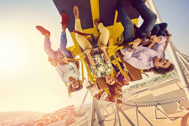 Family on rollercoaster at Yas Land Abu Dhabi