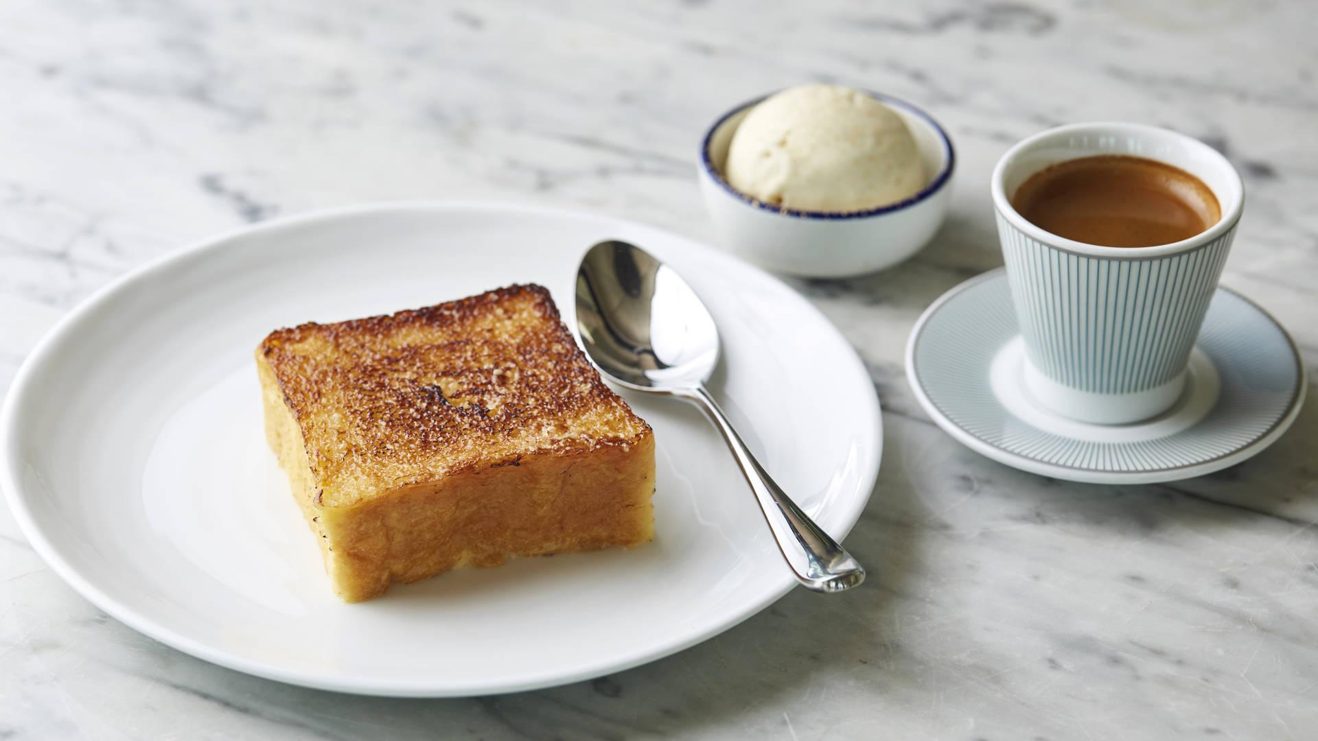 French toast brioche pudding at bleu blanc rouge brunch French Riviera Jumeirah Al Qasr Dubai