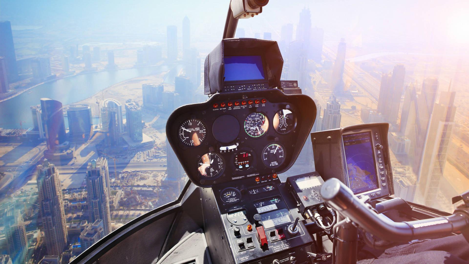 Helicopter flying over Dubai's skyline