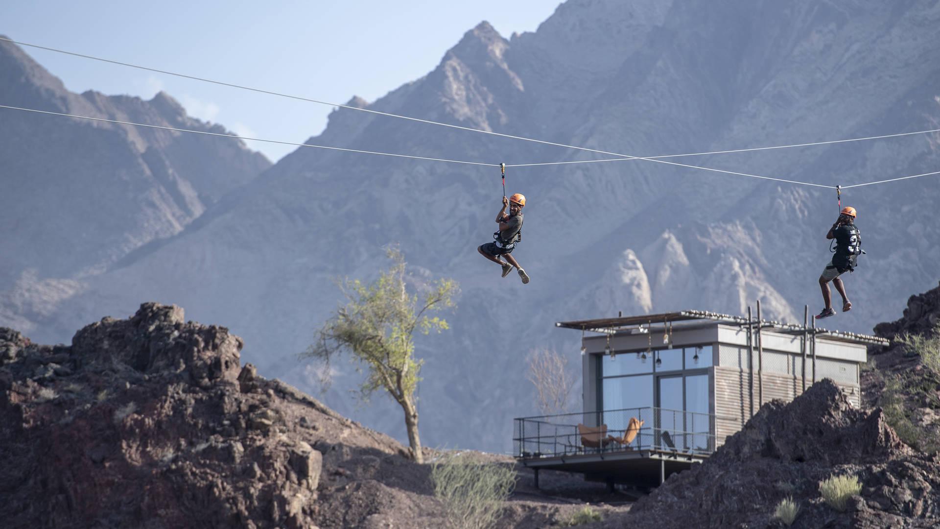 Zip-lining at hatta wadi hub jumeirah dubai