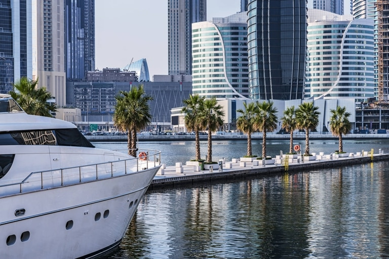 Dubai marina boat in harbour Jumeirah Living Gate