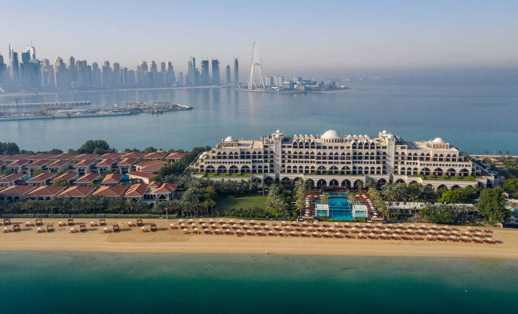 Aerial view of Jumeirah Zabeel Saray on the Palm Jumeirah in Dubai