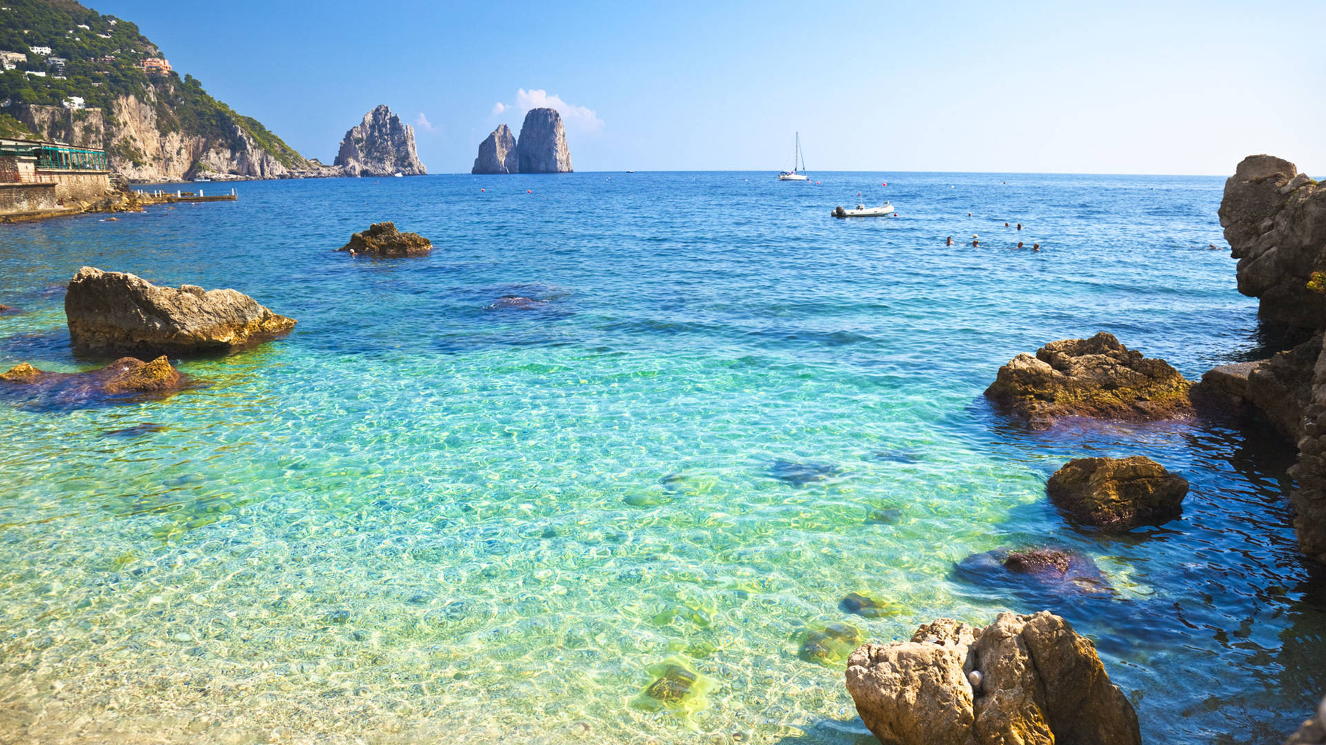 Sunny beach in Capri, Italy