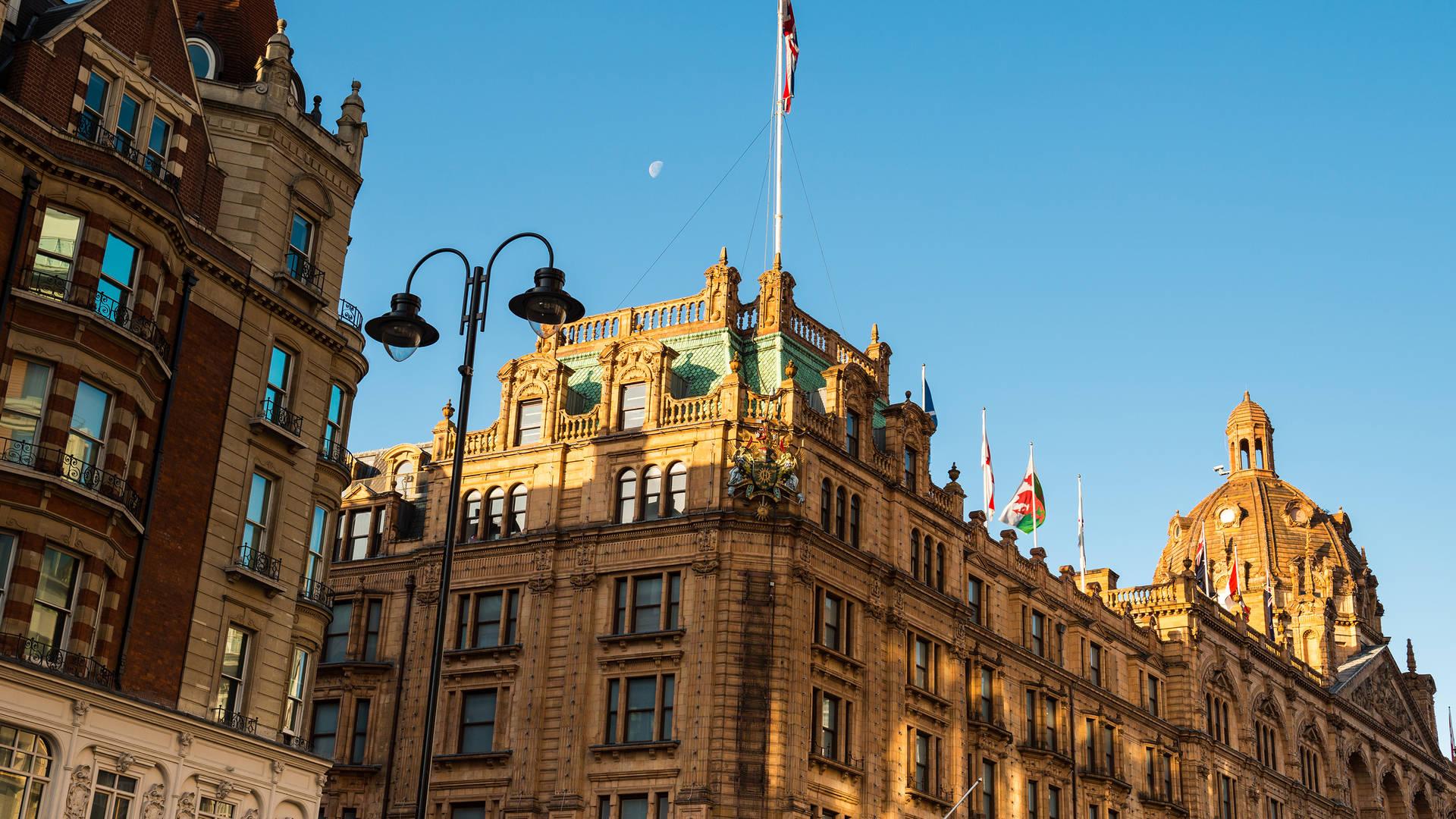 View of Harrods facade in London