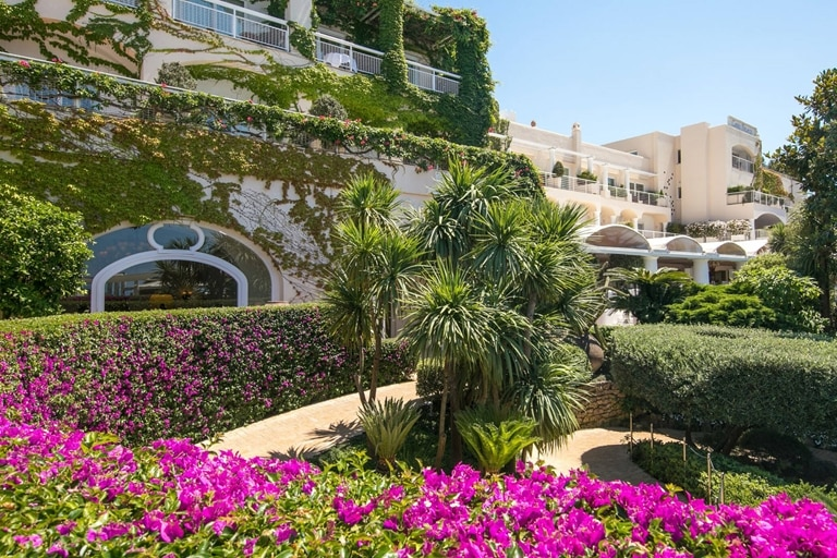 Capri Palace Hotel exterior with flowers Italy