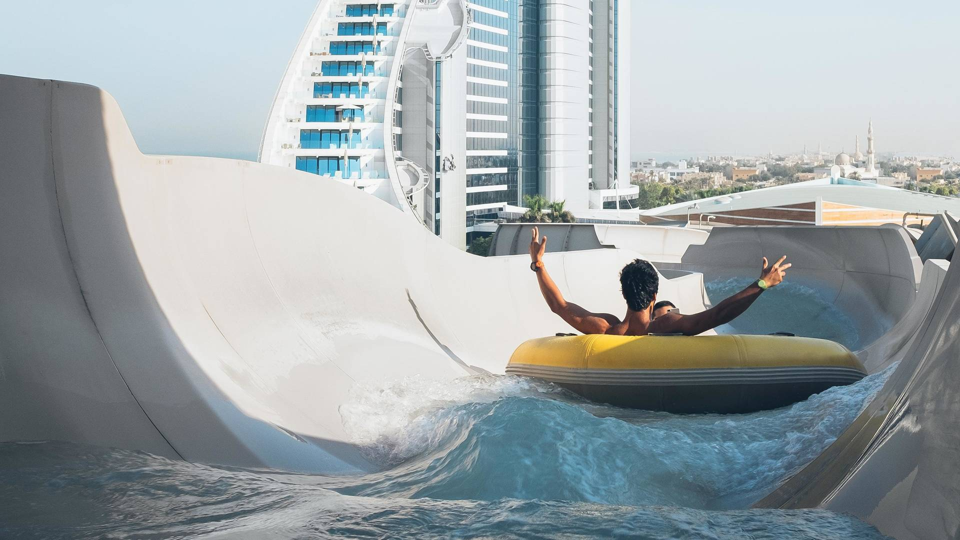 Man on a water slide