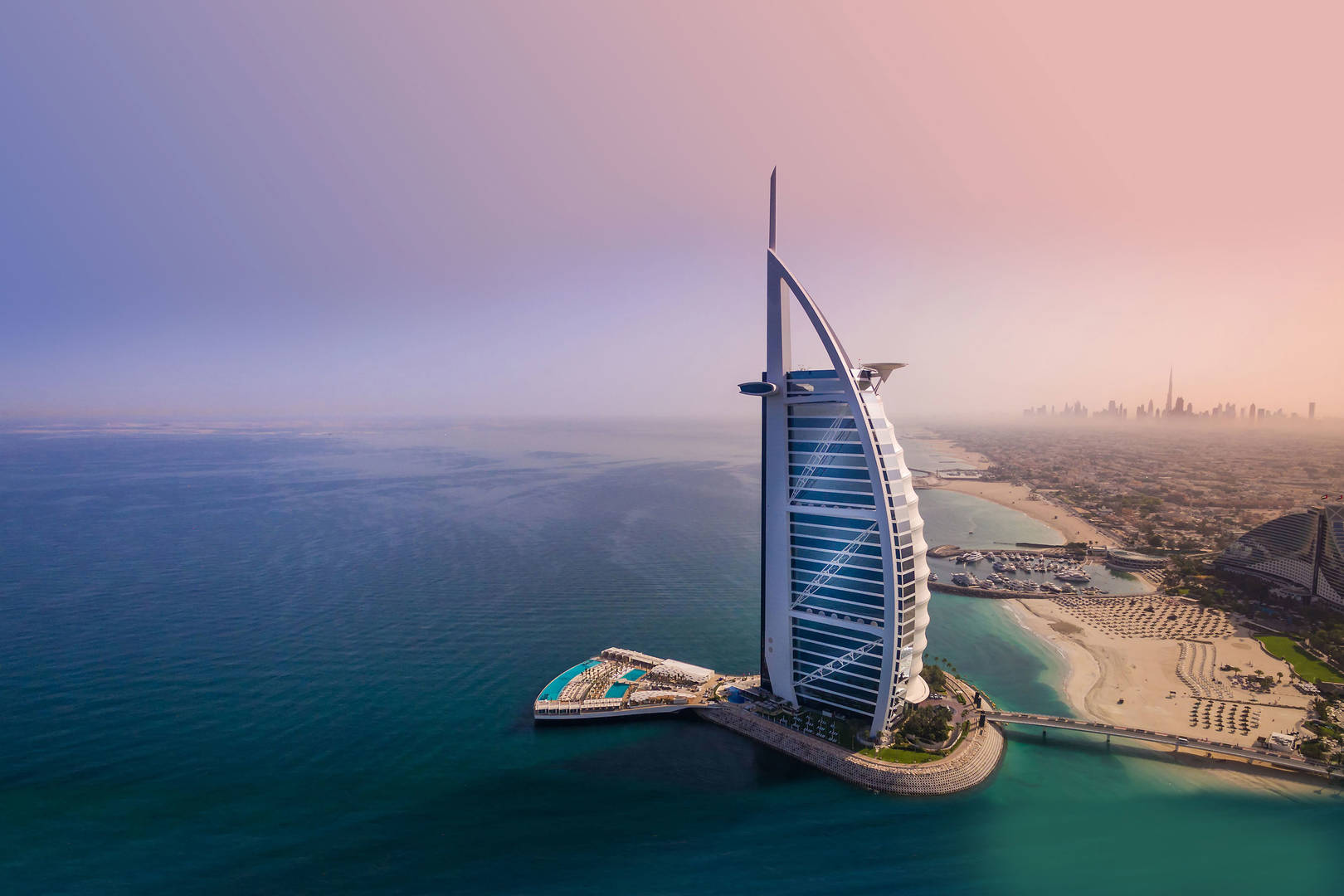 Aerial view of the Burj Al Arab at dusk