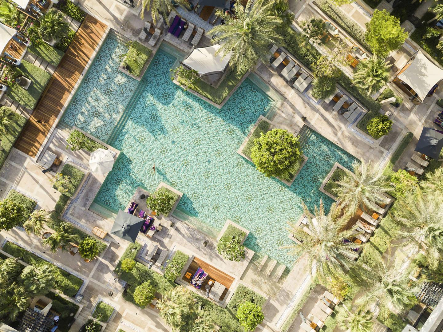 Aerial view of Jumeirah Al Naseem's pools