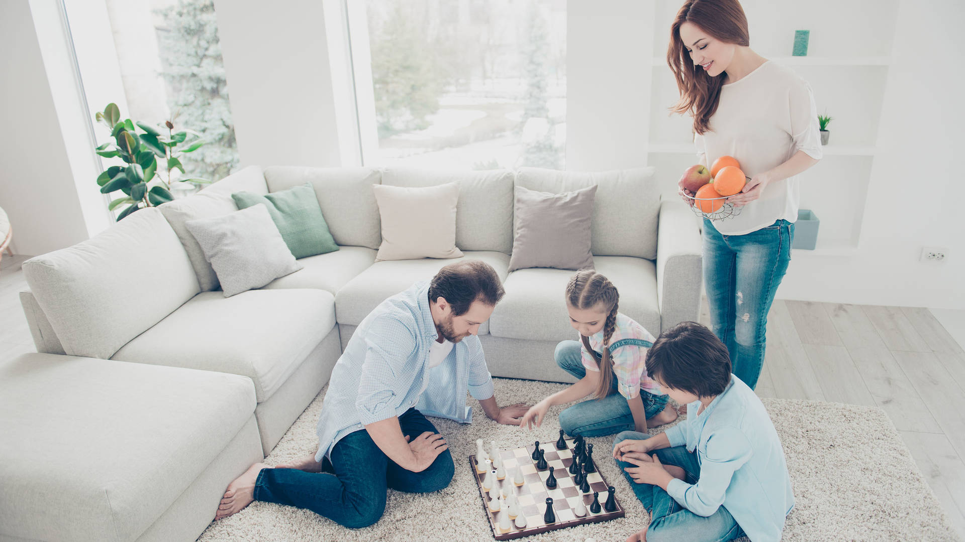 Boardgames played by a family