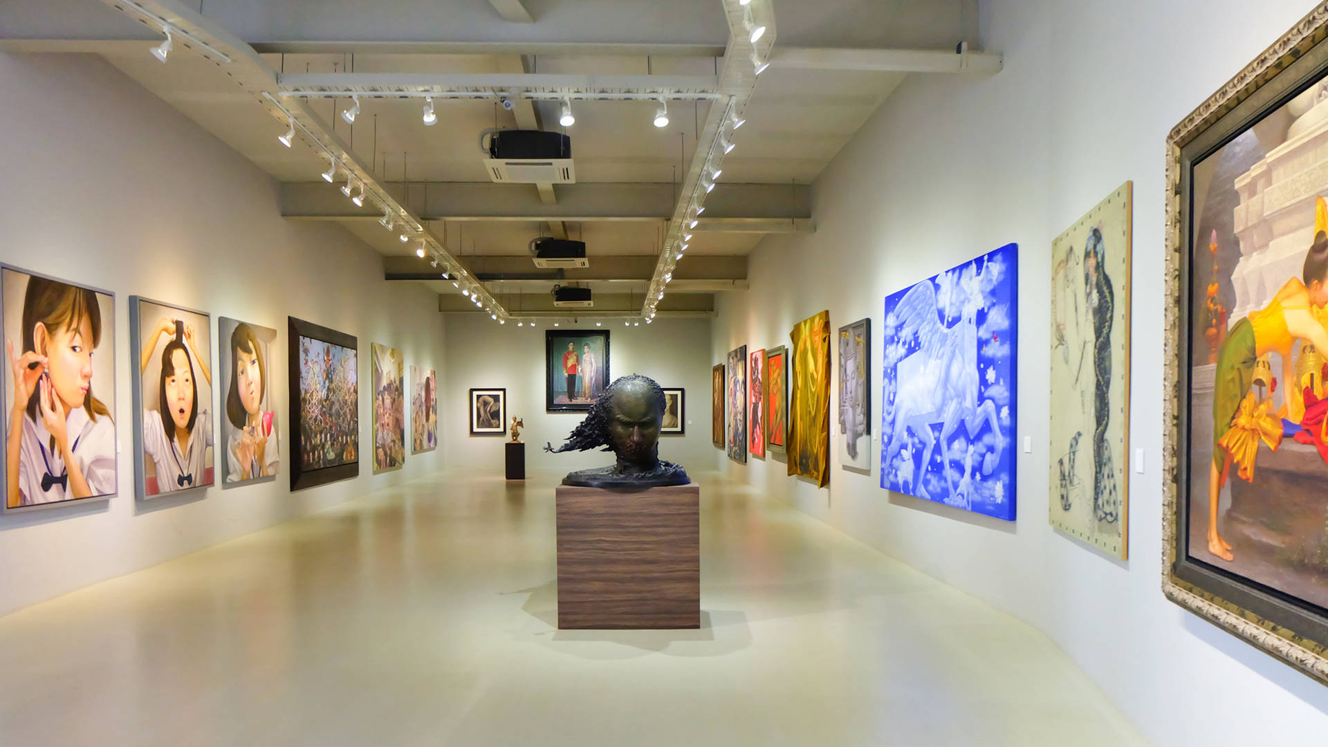 The interior of a modern art gallery