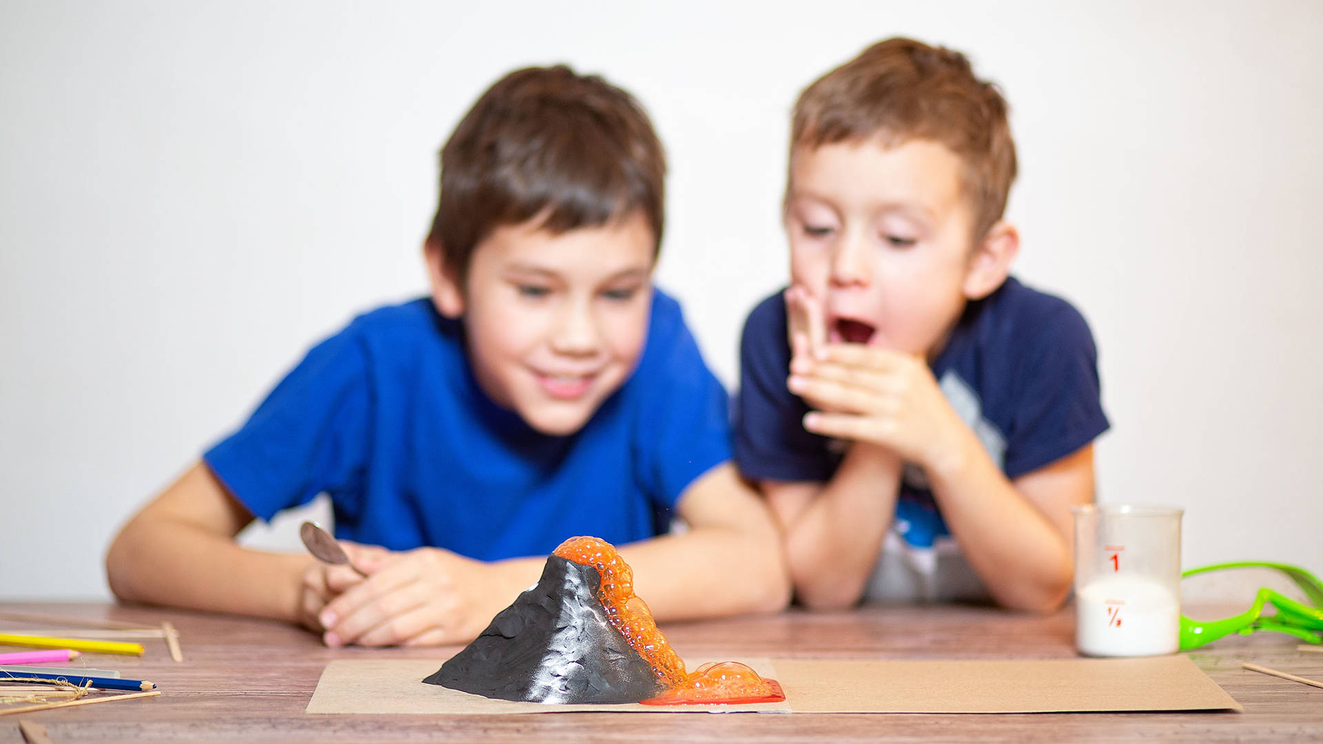 Two children conducting a science experiment