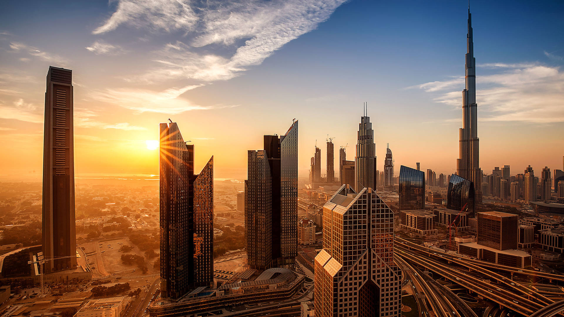 Downtown Dubai at sunrise