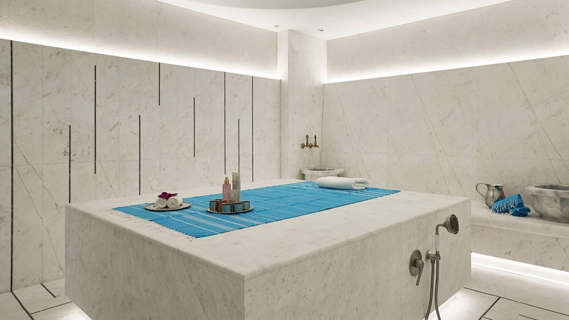 A massage treatment room in a hammam