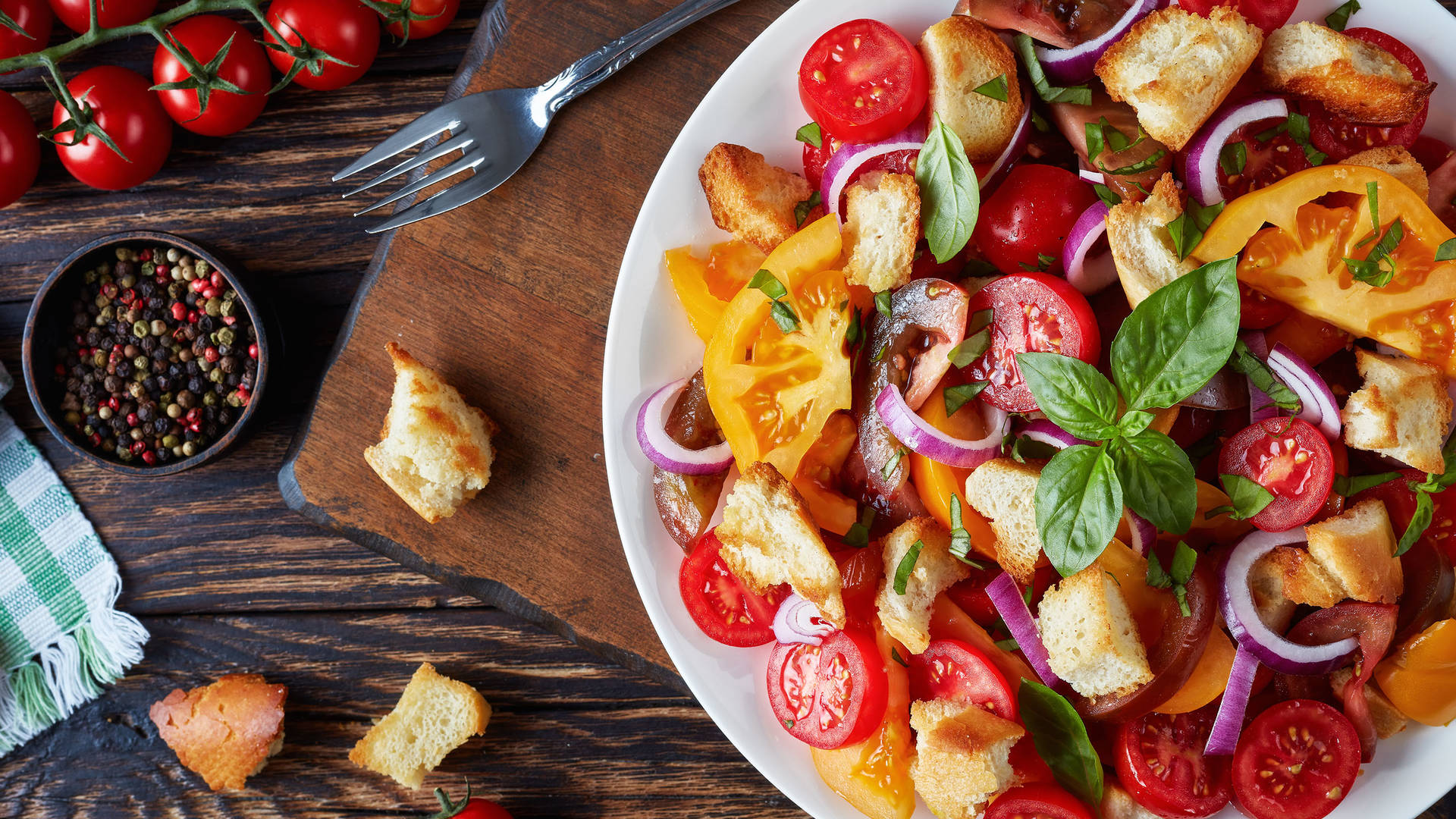 Traditional panzanella salad