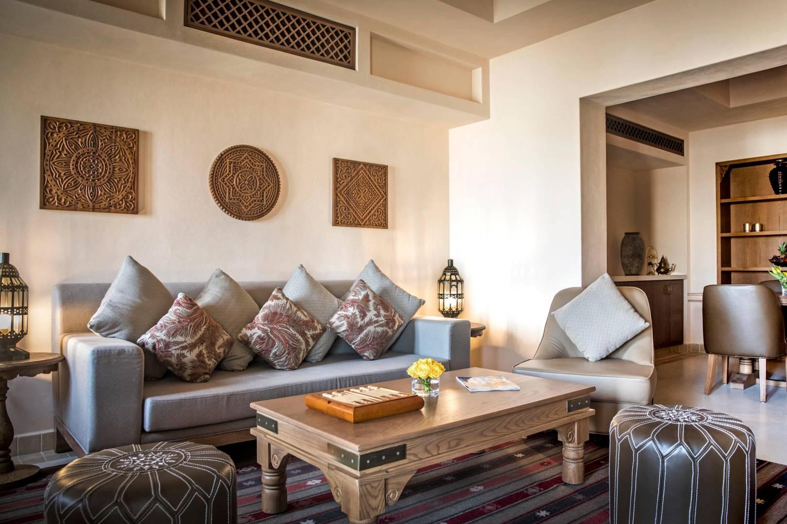 Living room in the Two Bedroom Suite at Jumeirah Al Wathba Desert Resort & Spa