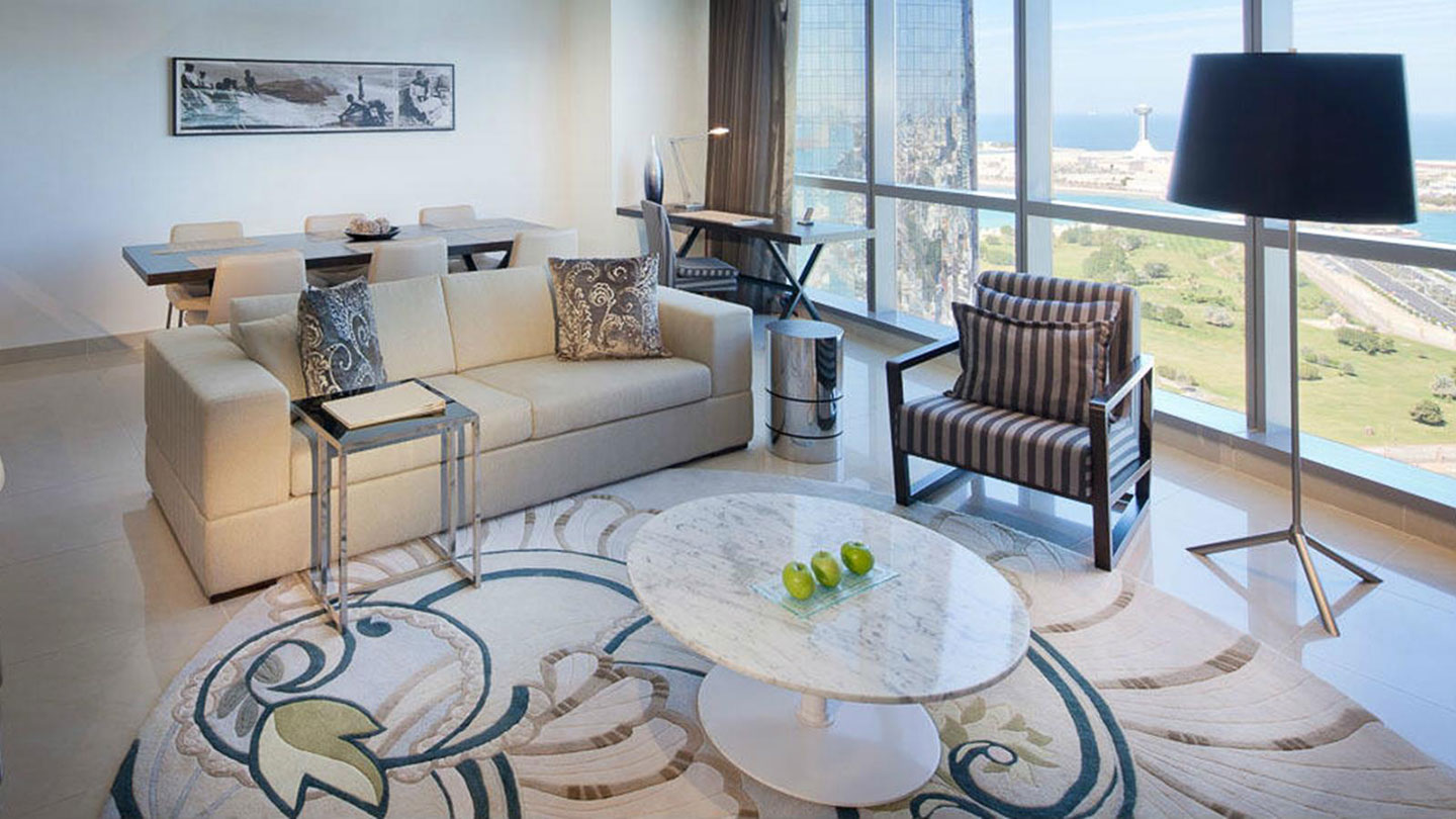 Living area of a 3 bedroom residence at Jumeirah at Etihad Towers