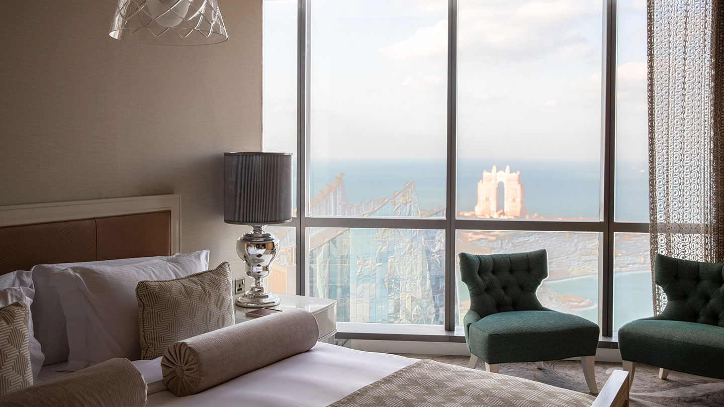 Jumeirah at Etihad Towers Royal Etihad Suite Bed and View