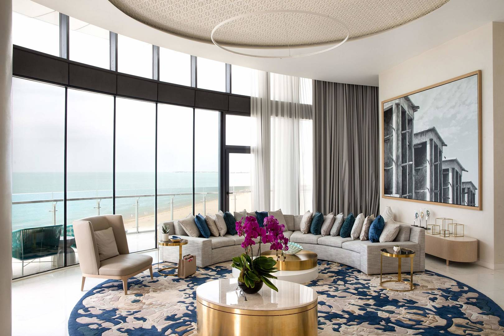 View at the living room in the Abu Dhabi Suite at Jumeirah Saadiyat Island Resort