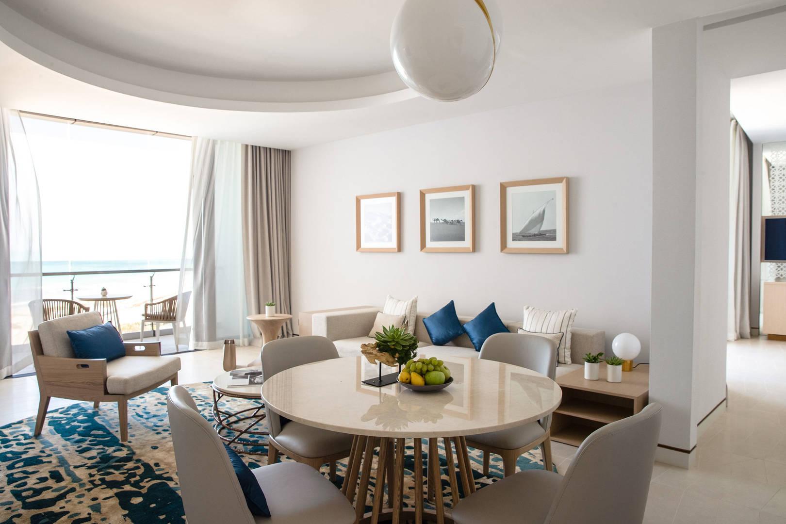 View at the living room of the Family Suite at Jumeirah Saadiyat Island Resort