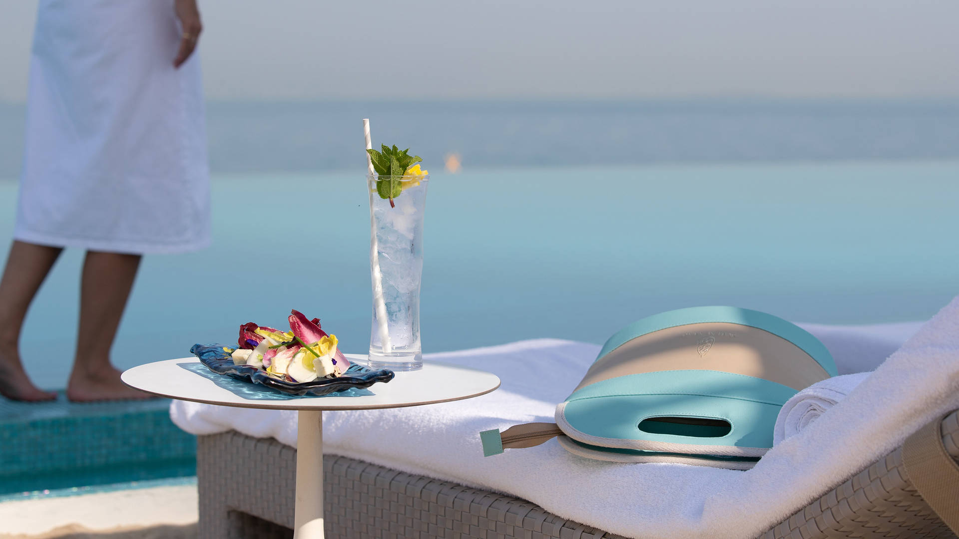 Jumeirah Al Arab Burj Terrace close up of sun lounger and food