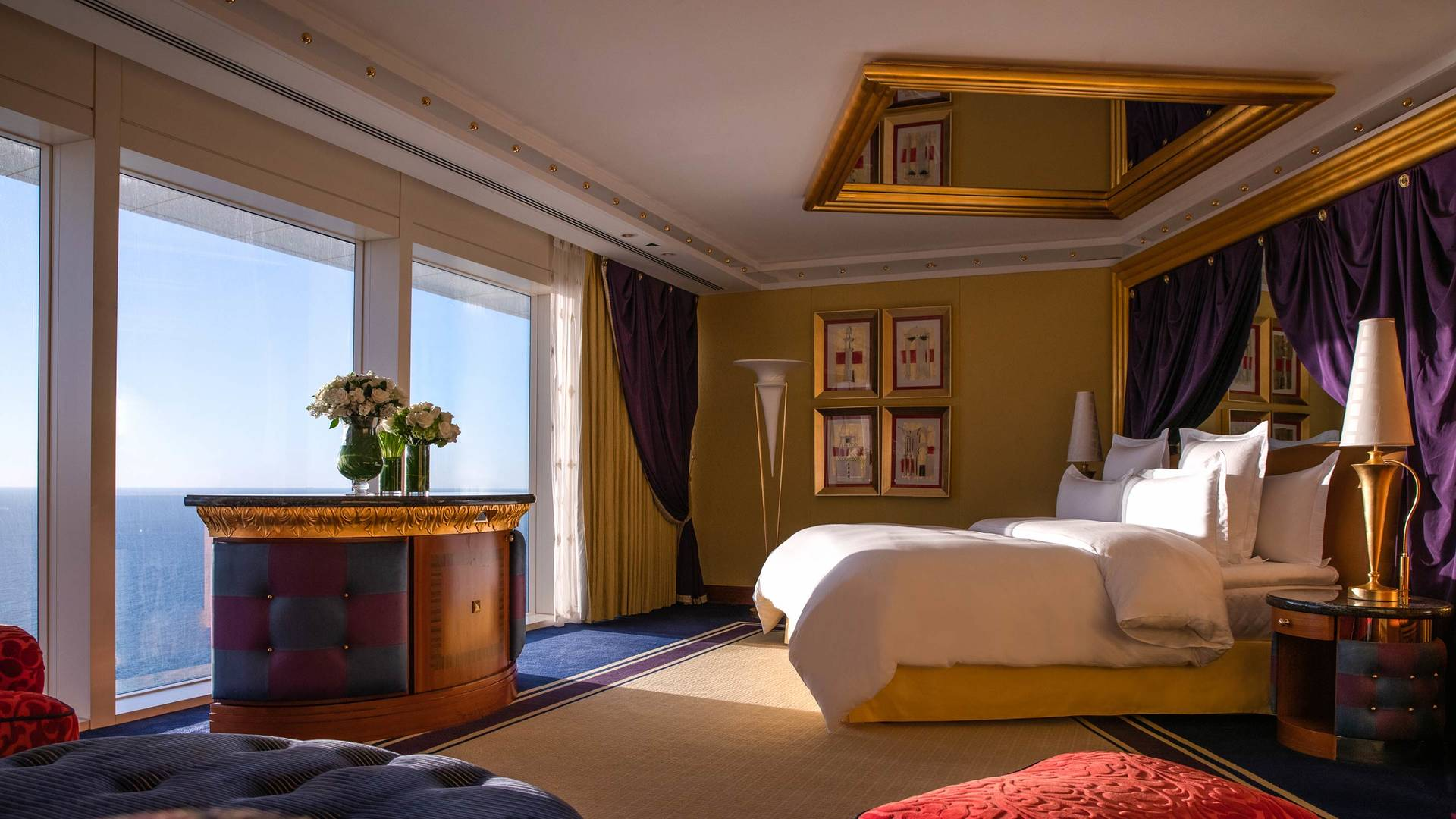 Jumeirah Burj Al Arab One bedroom Sky room view of whole room including bed and view from window