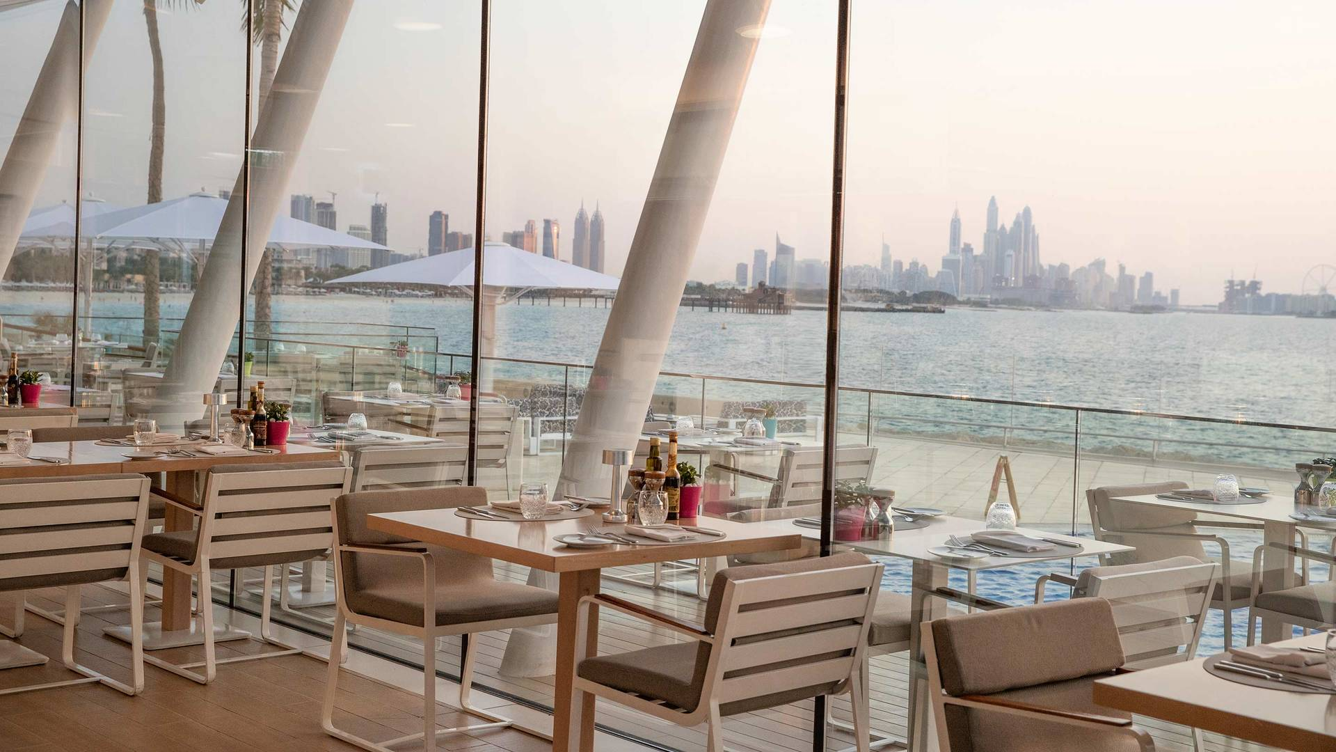 Jumeirah Burj Al Arab Bab Al Yam restaurant with beach and city view