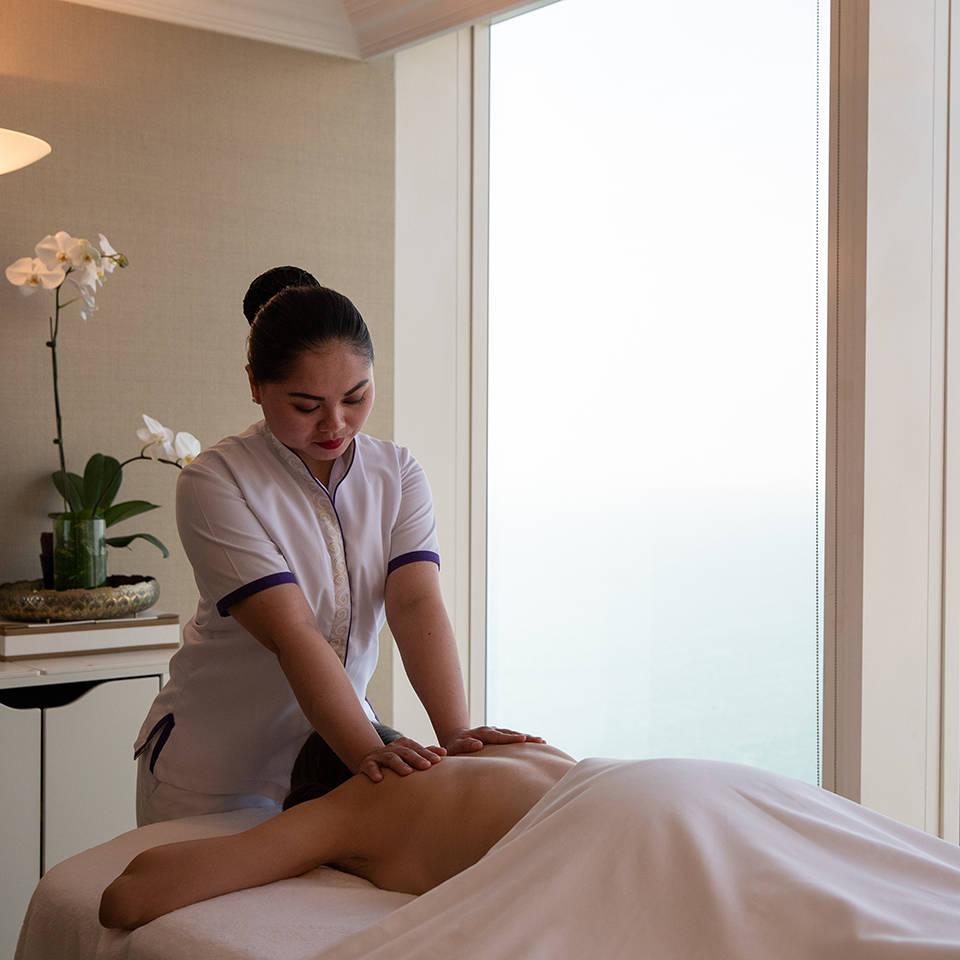 Jumeirah Burj Al Arab Talise spa woman getting a massage with ocean view