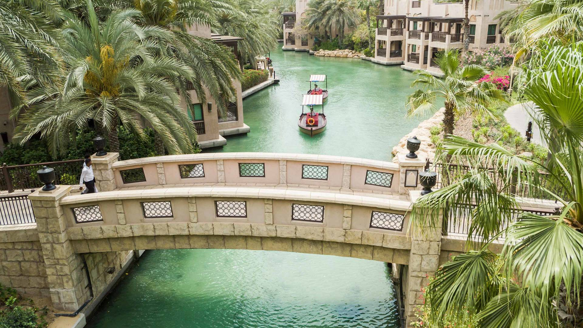 Jumeirah Dar Al Masyaf Suite Madinat Aerial Drone shot of bridge and boat