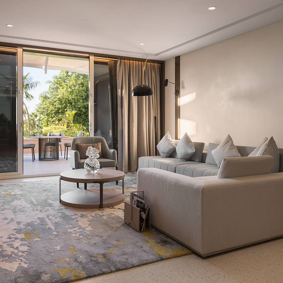 Living room in the Jumeirah Beach Hotel Family Garden Suite