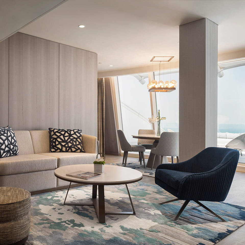 Living room in the One Bedroom Suite of the Jumeirah Beach Hotel