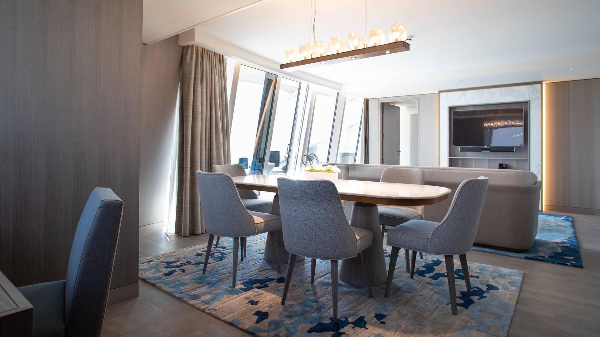 Living room in the two bedroom ocean suite