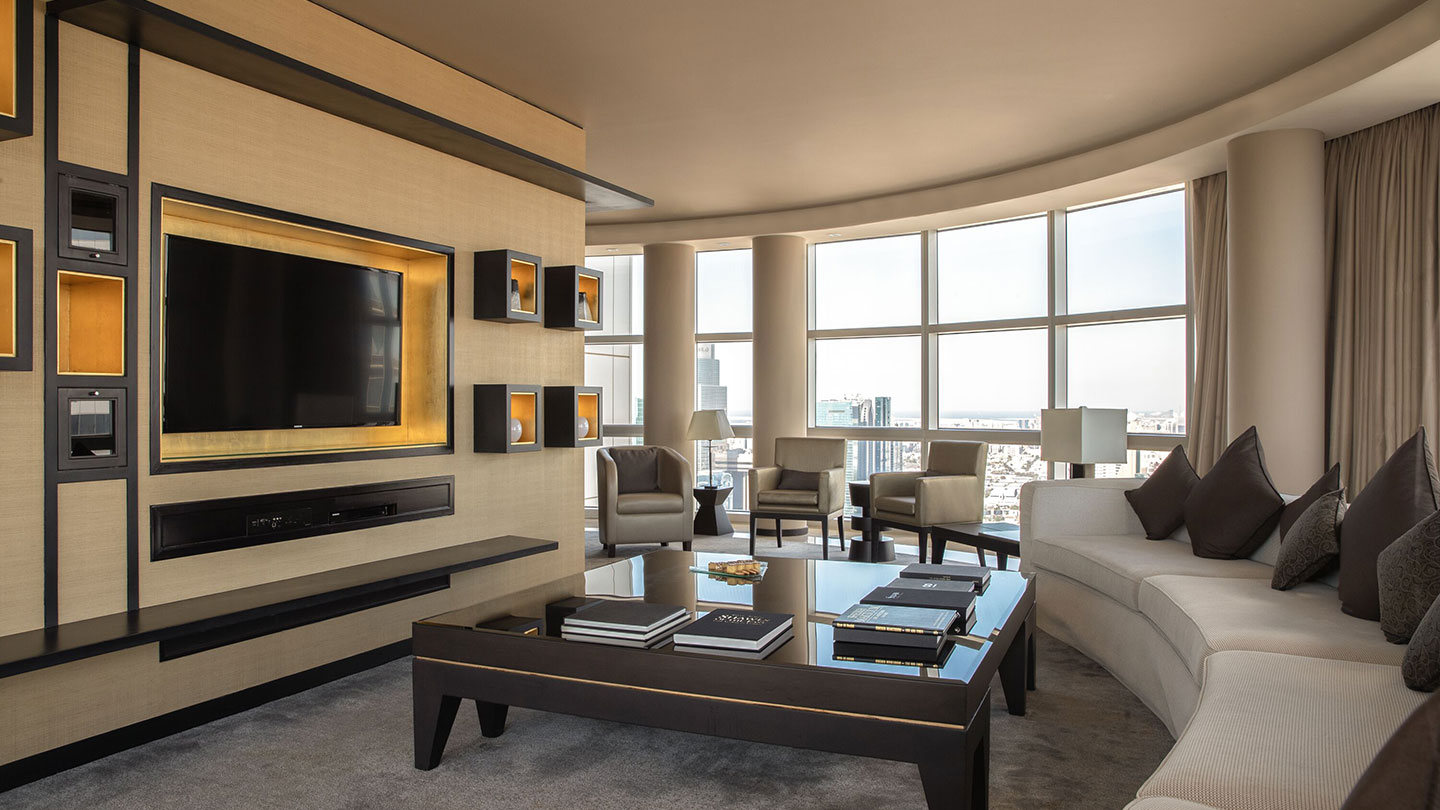 Jumeirah Emirates Towers Scandinavian Presidential Suite Living Room and TV