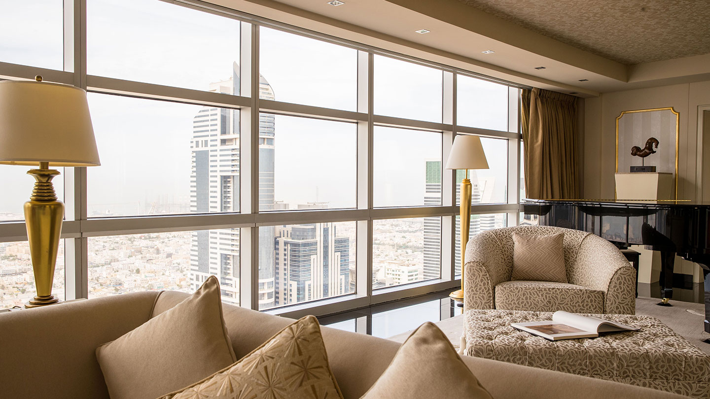 Jumeirah Emirates Towers Presidential Suite Louis Living Room and View