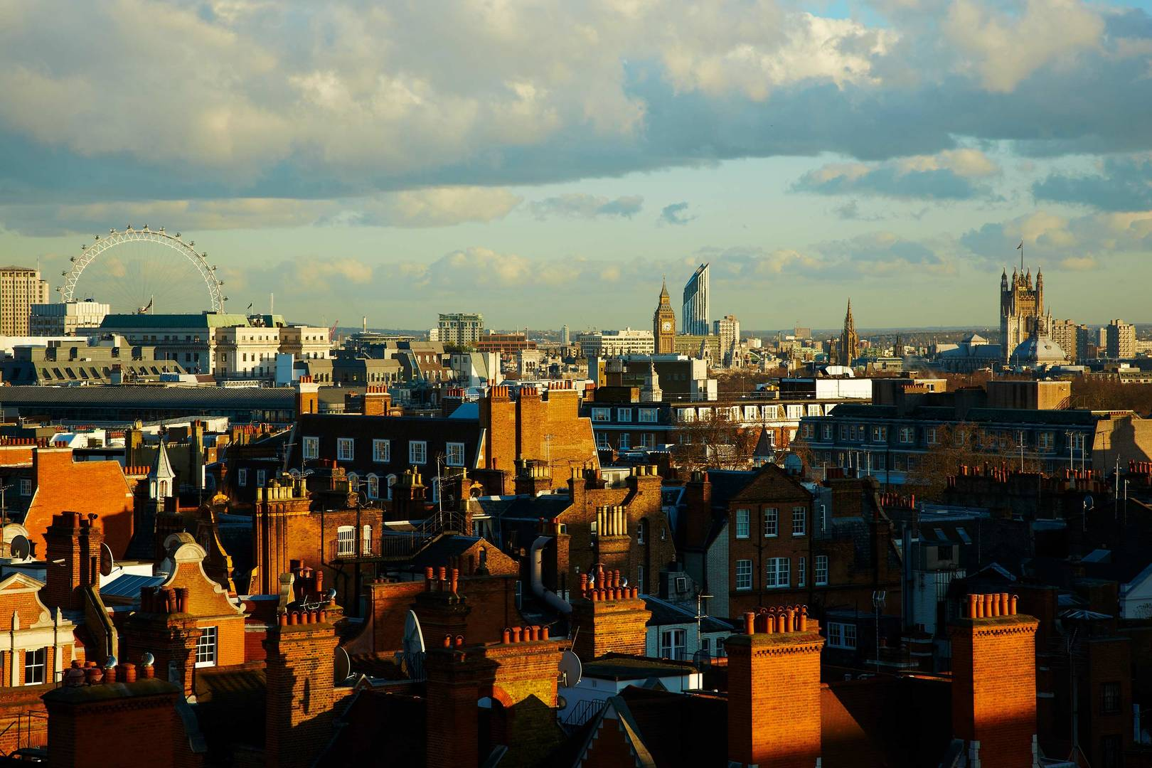 View of london city rooftops