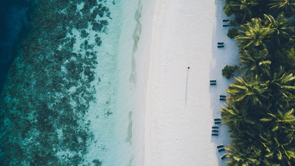 A white sand beach in the Maldives