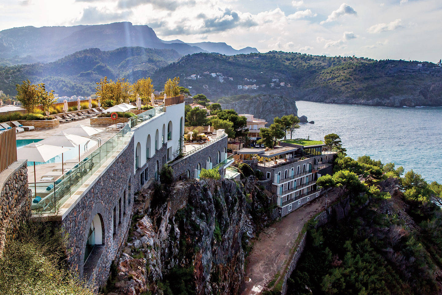Cliffside aerial view of Jumeirah Port Soller Hotel & Spa