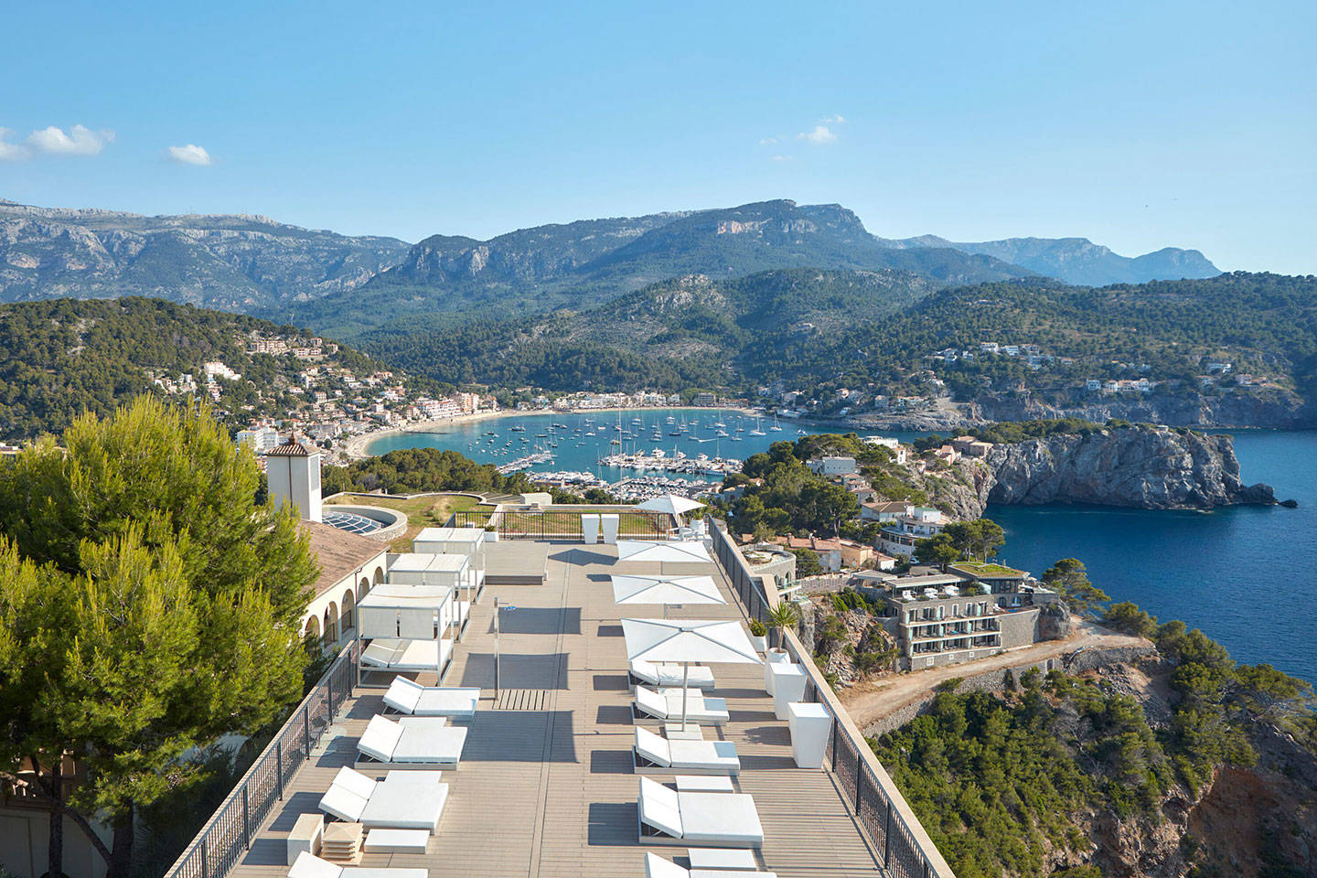 Jumeirah Port Soller Hotel & Spa Terrace overlooking views of mountain and sea