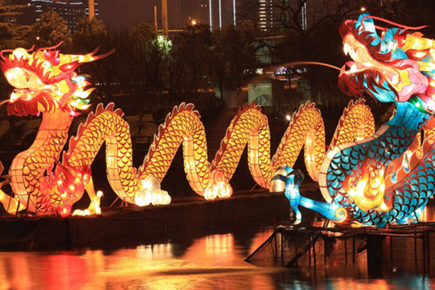 Colourful dragon sculptures lit up at night