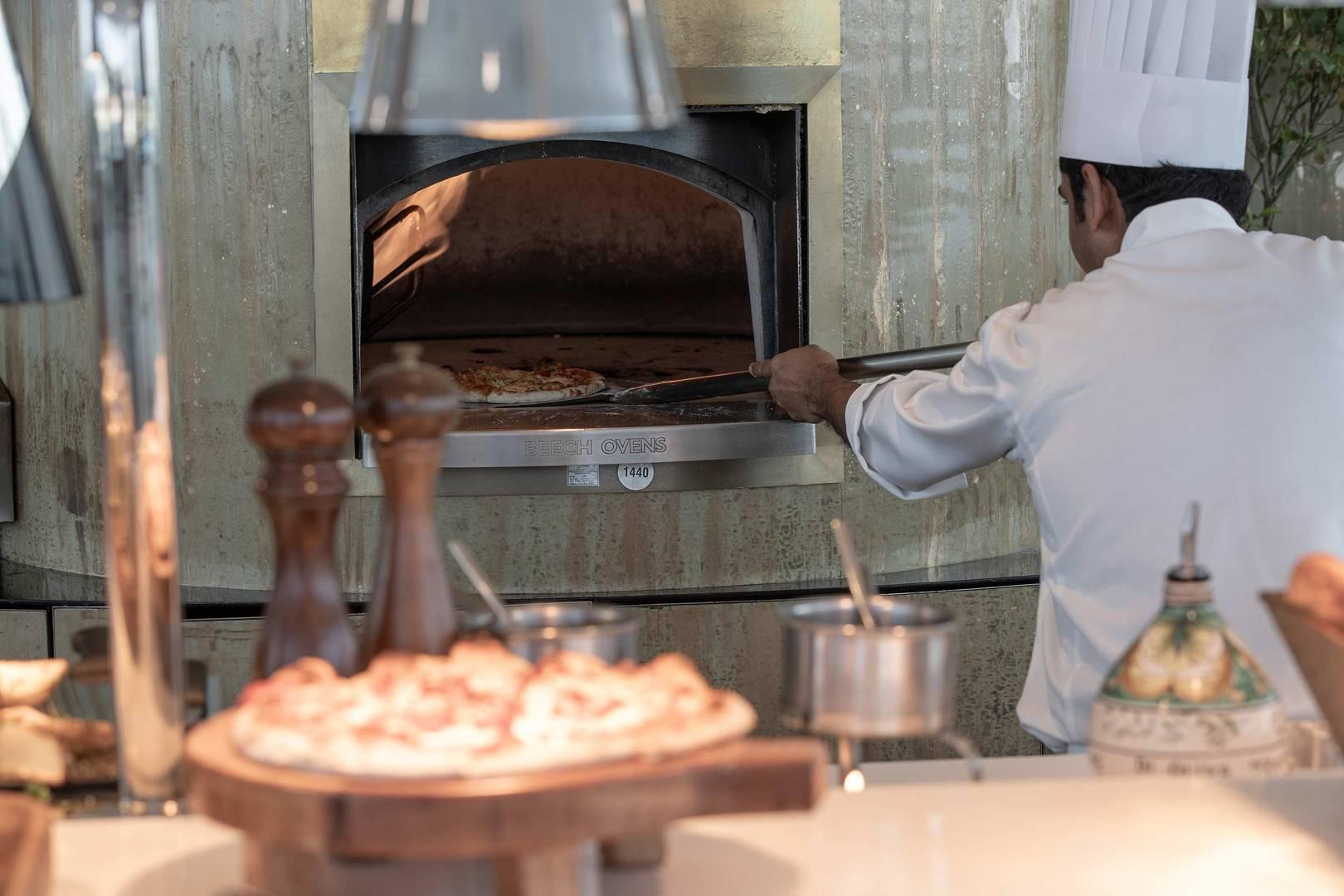 Burj Al Arab Bab Al Yam pizza oven and chef