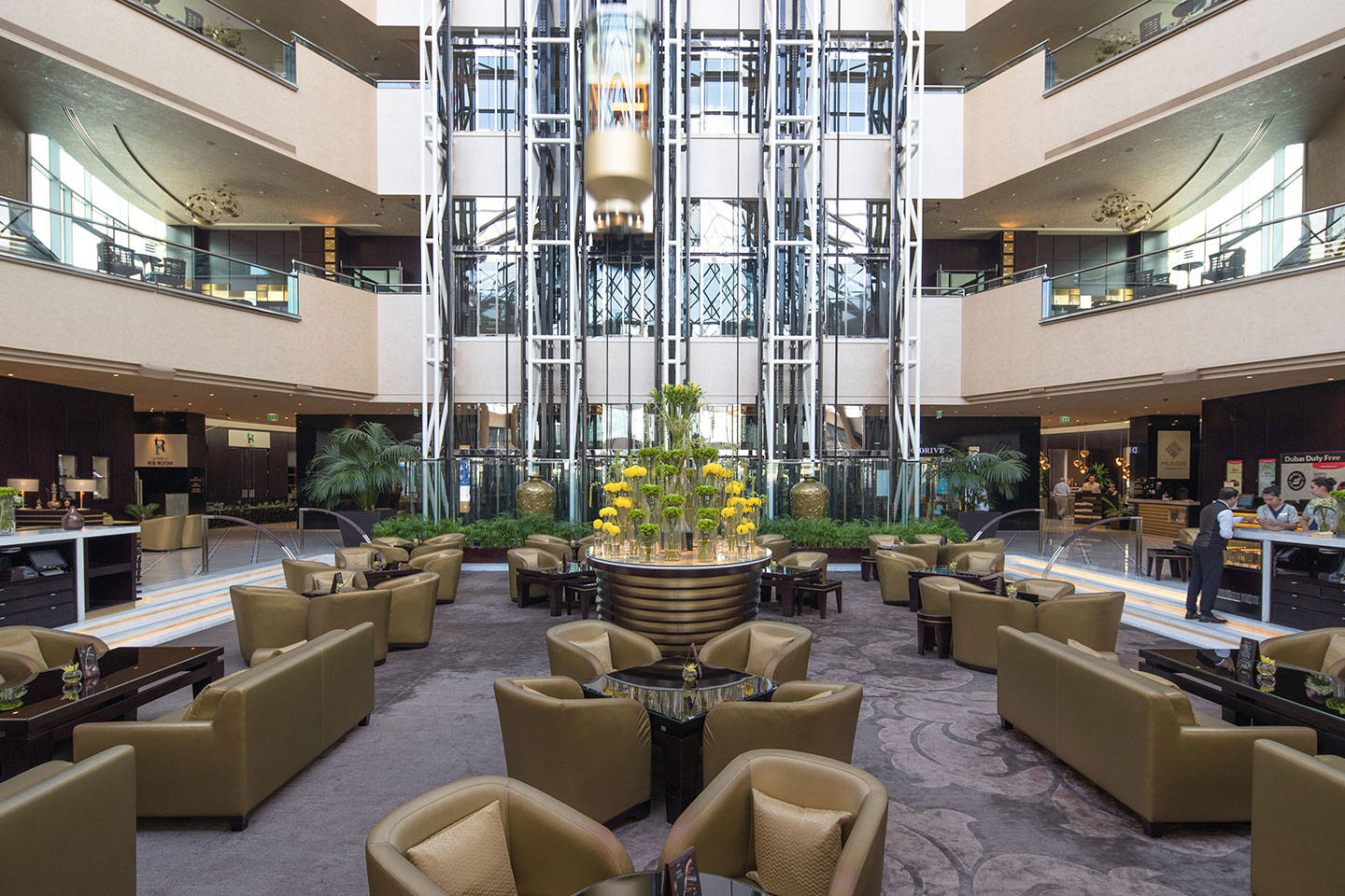 Lobby lounge with lifts at Jumeirah at Etihad Towers Daefi Lounge