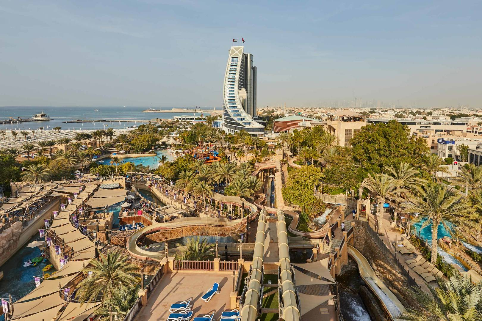 Wild Wadi Waterpark Aerial Shot with Beach Hotel | Jumeirah